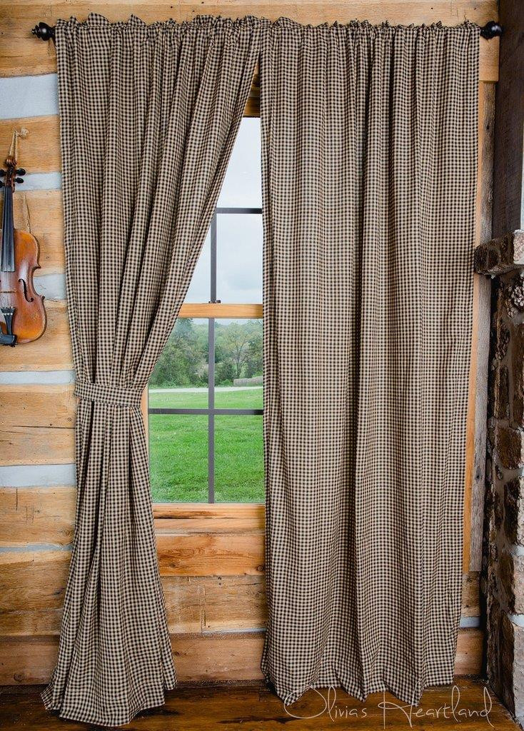 black and tan checkered curtains