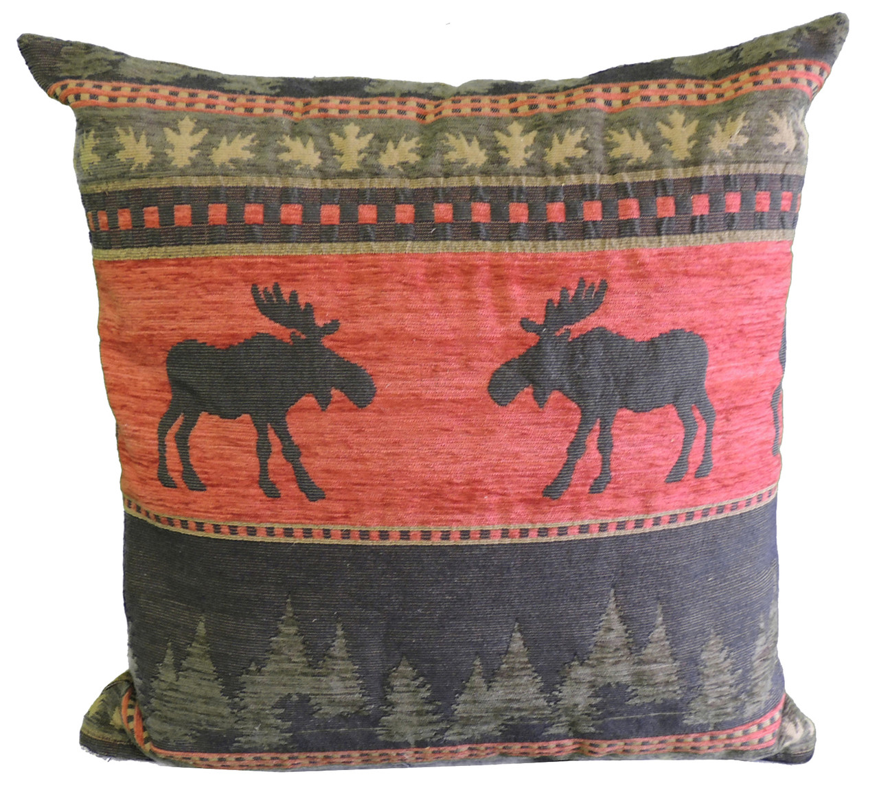 premium rustic throw pillow cover only red moose