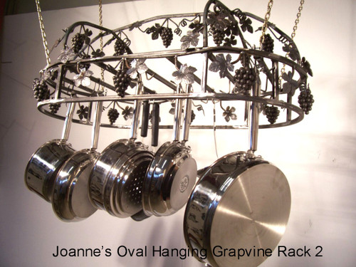 hanging grapevine oval pot rack with top grape vine