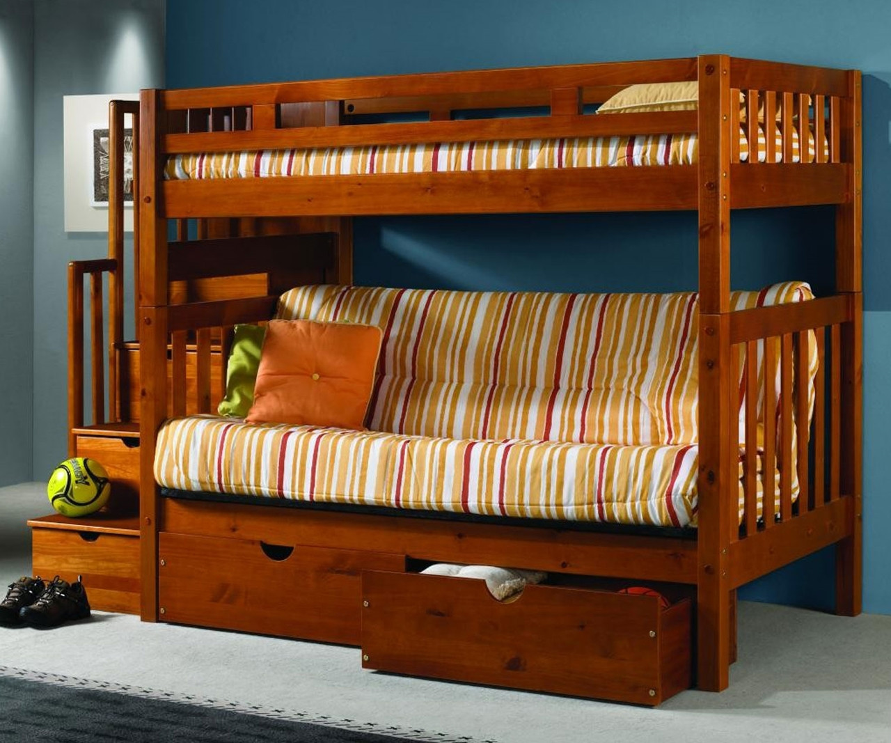 Donco Trading Mission Stairway Futon Bunk Bed 200 Abcdefgh 300 Solid Wood Bunk Bed Donco Furniture
