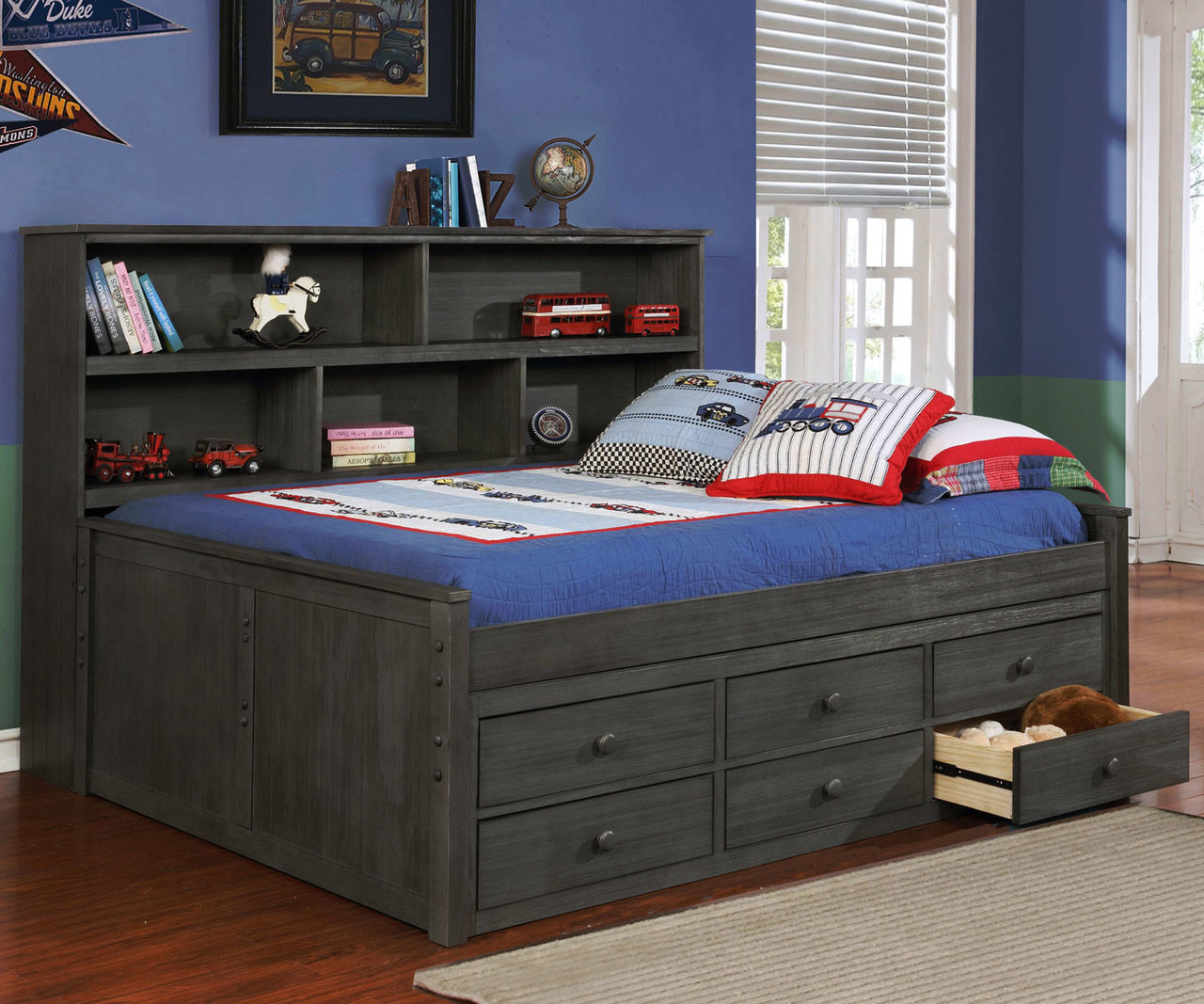 Allen House Bookcase Captains Daybed Full Size Weathered Dark Gray