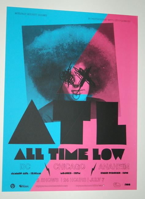 atl all time low warped tour chicago myspace secret show concert poster