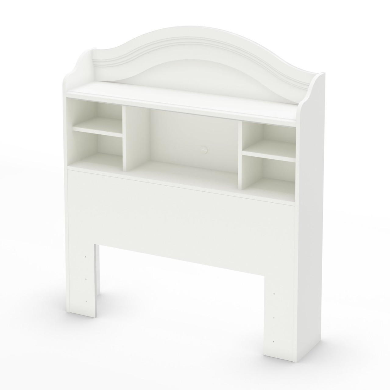 Twin Arched Bookcase Headboard In White Wood Finish