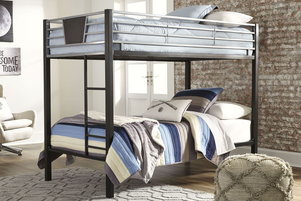 ashley dinsmore black gray twin twin bunk bed w ladder