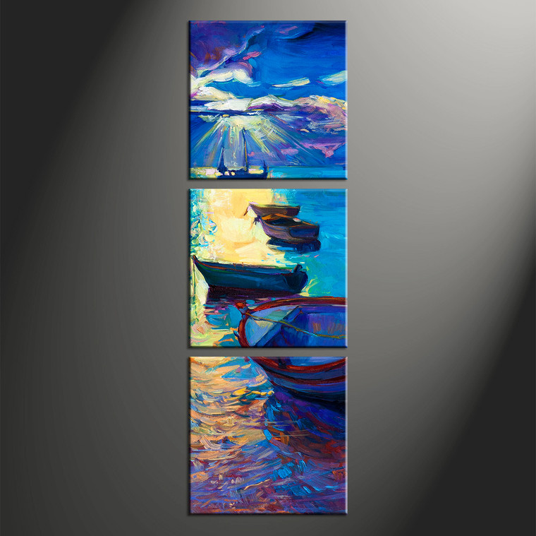 3 Piece Canvas Blue Sunrise Ocean Oil Paintings Pictures