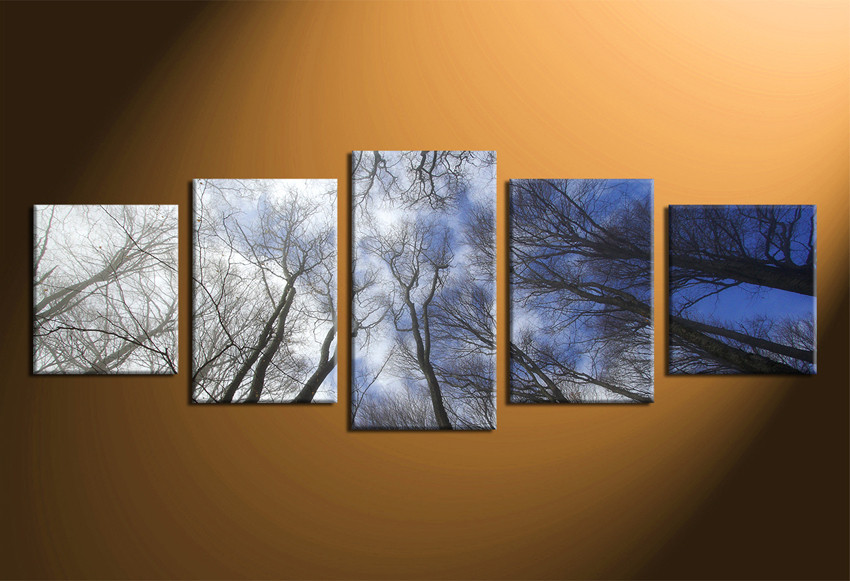 5 Piece Huge Pictures, Blue Sky Wall Decor, Panoramic