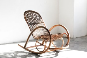 Sold Mid Century Modern Rattan Rocking Chair By Franco Albini Rehab Vintage Interiors