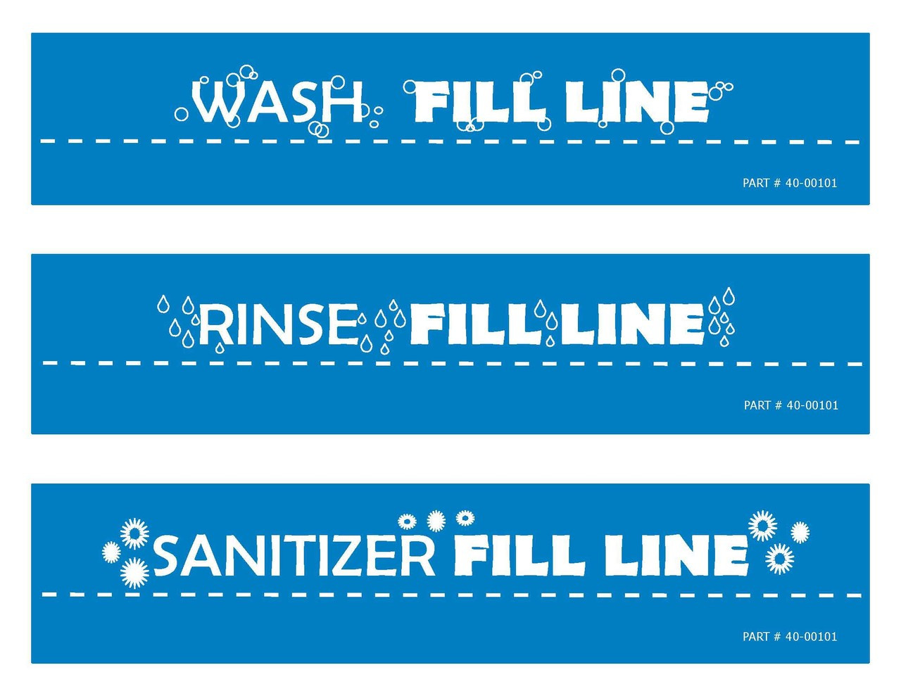 3 compartment sink fill line labels one each of wash rinse sanitize