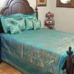 Teal Gold Elephant Pair India Inspired Bedding Decorative Duvet King Bedspread Set Novahaat