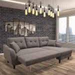Nova Fabric Right Hand Facing Sectional Sofa Bed Grey Pallucci Furniture