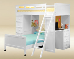 wood loft beds with desk full size