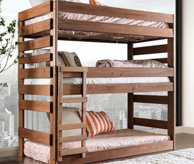 Julian 3 Level Twin Size Bed In Rustic Finish 3 Tier Bed