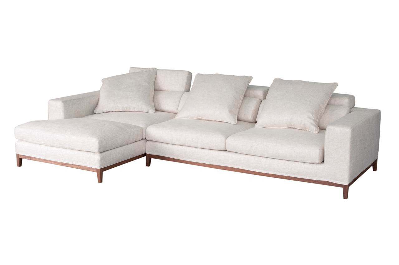 oslo sofa 3 seater compact chaise left cream soft to the touch