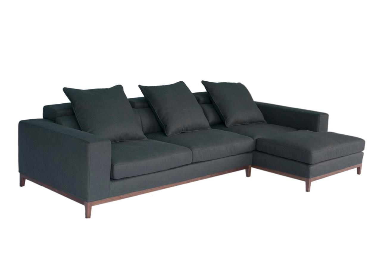 oslo sofa 3 seater compact chaise right grey fine weave