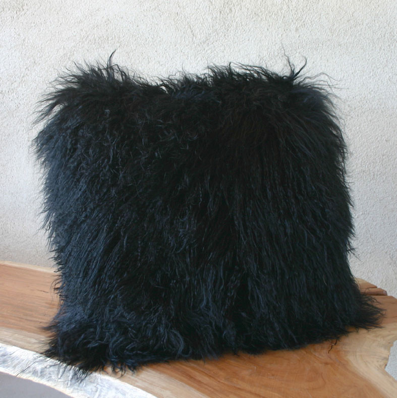 black as night mongolian lamb pillow