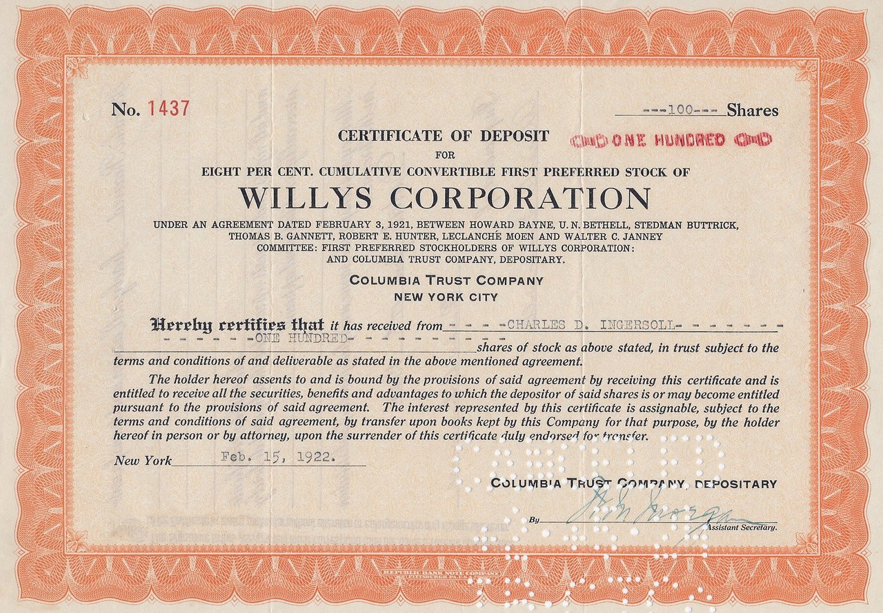 Willys Corporation Cd For Stock 1921