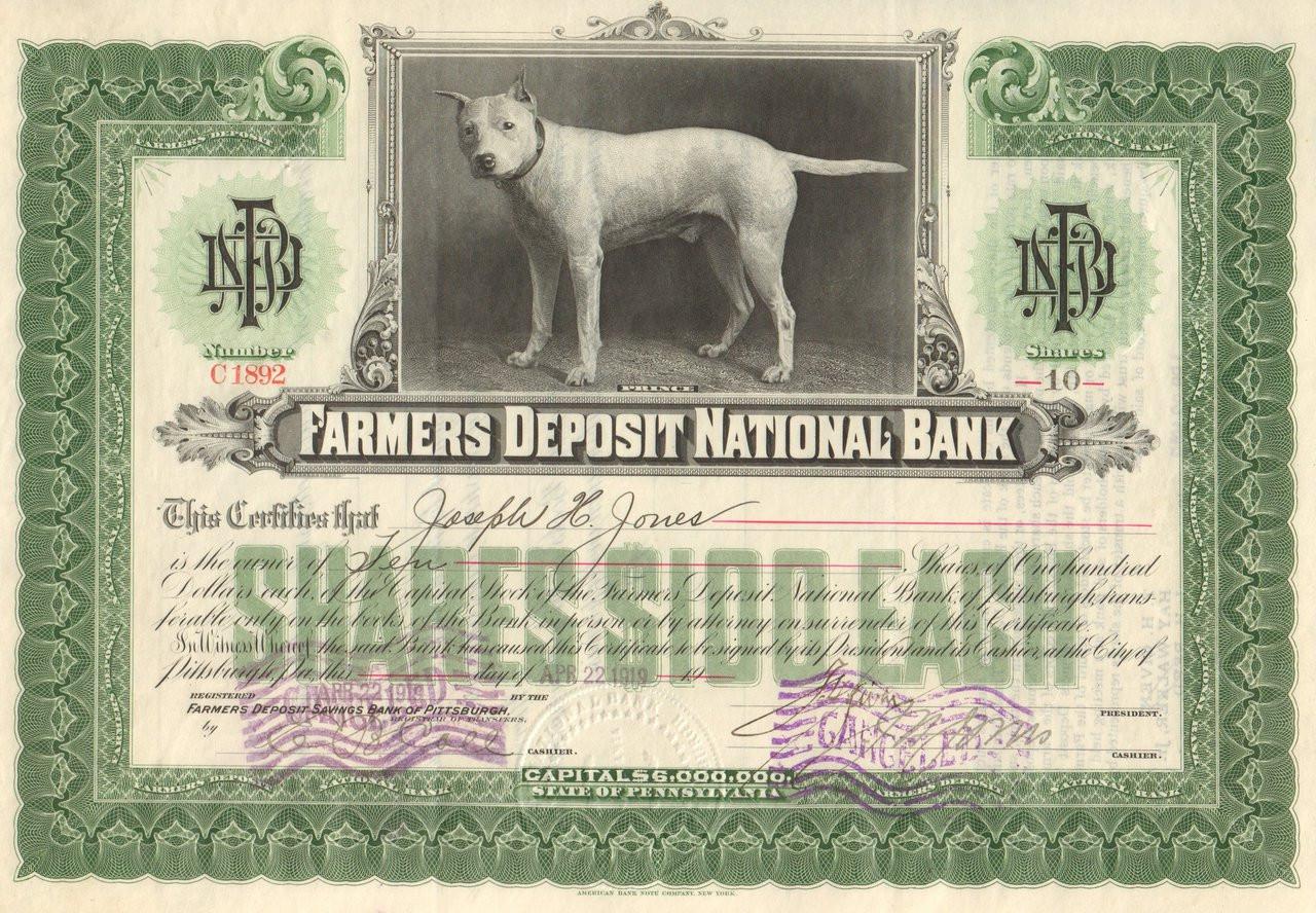 Farmers Deposit National Bank 1919 Pittsburgh Pa
