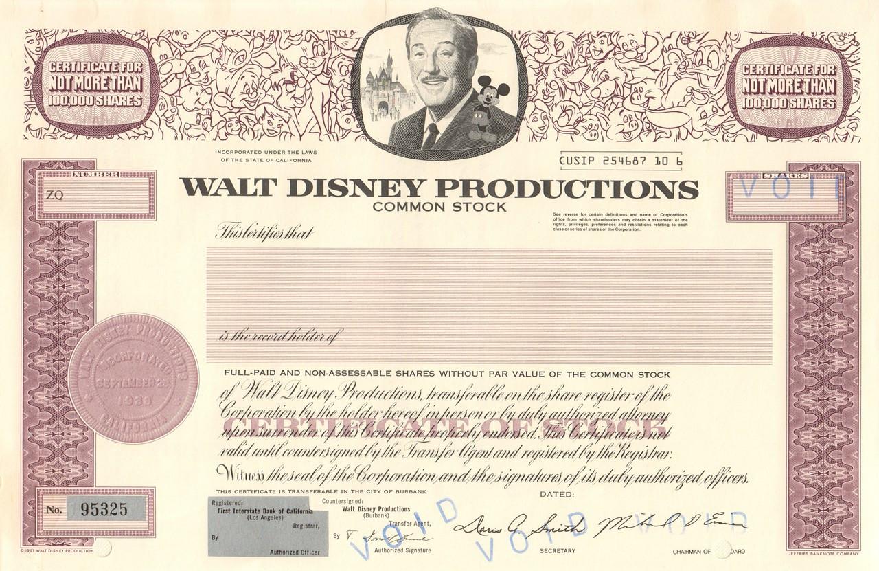 Walt Disney Productions Specimen Circa 1984