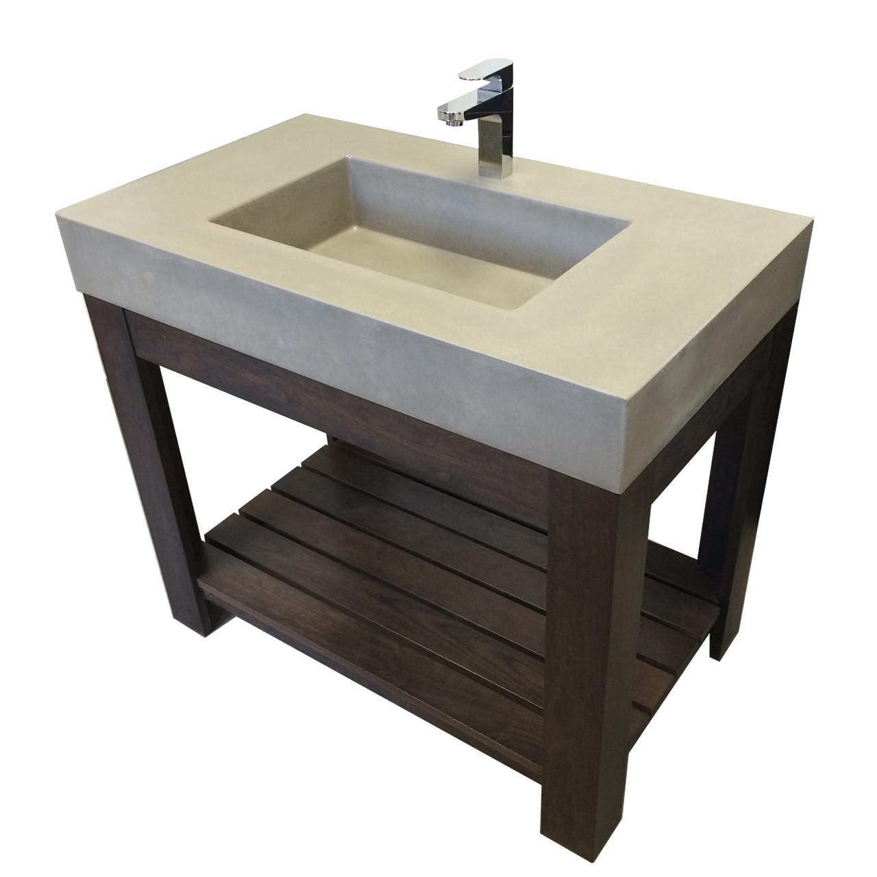 36 lavare vanity with concrete rectangle sink
