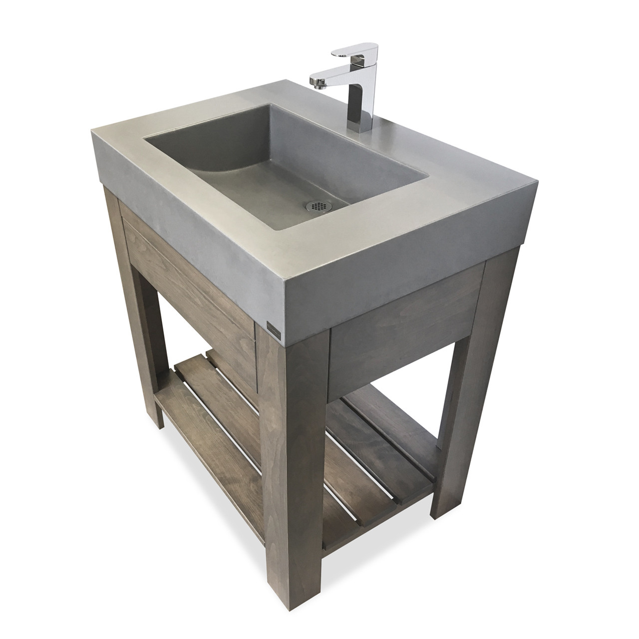 30 lavare vanity with concrete half trough sink drawer