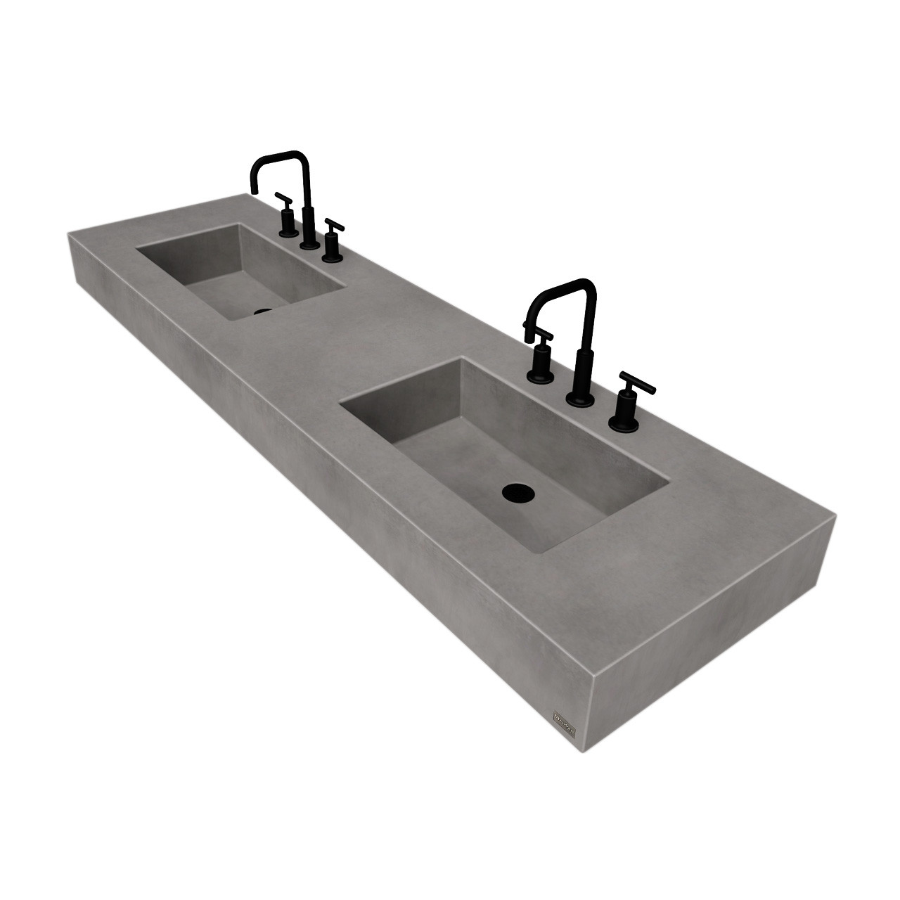 72 ada floating concrete double rectangle sink