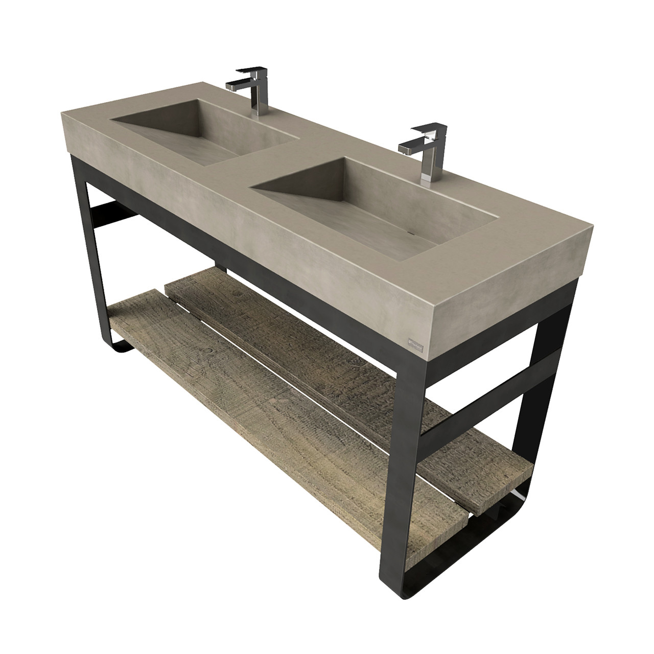 60 outland vanity with double concrete ramp sinks