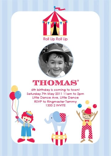 party invitations retro circus invitation