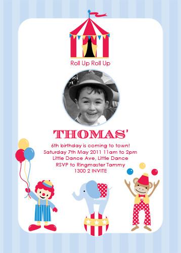 party invitations retro circus invitation