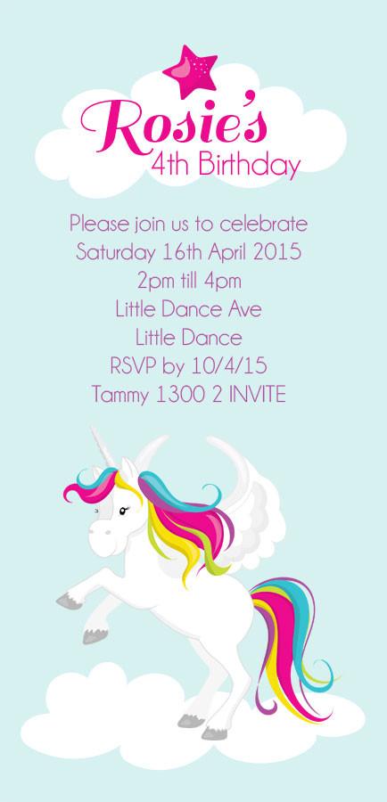 kids birthday invitations unicorn party