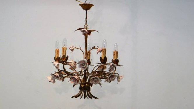 Mid Century Hollywood Regency Chandelier 1950s 1