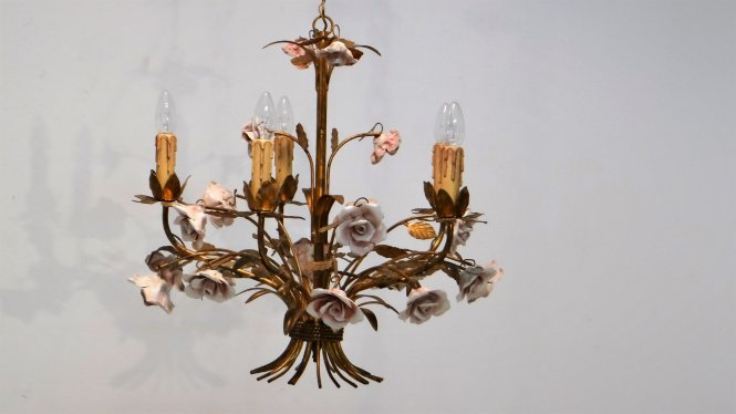 Mid Century Hollywood Regency Chandelier 1950s