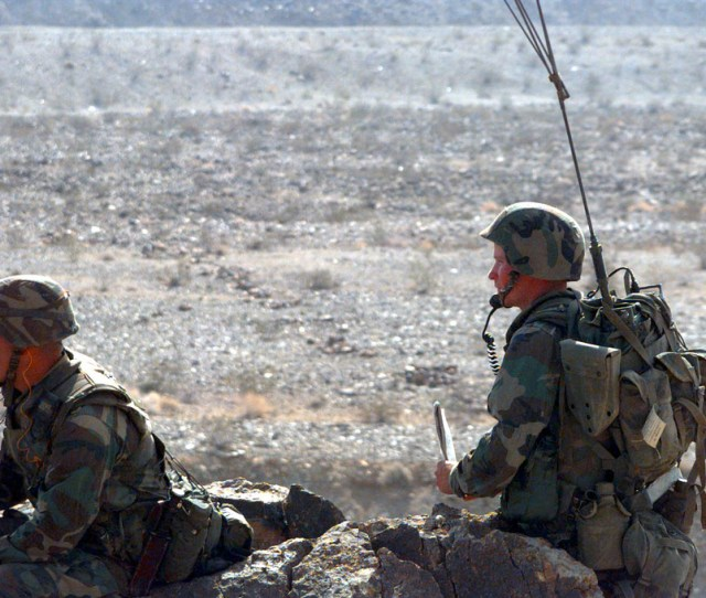 Two Field Radio Operators Attached With Golf Company 2d Battalion 6th Marines Coordinate The Training Evolution At Range 400 During Combined Arms