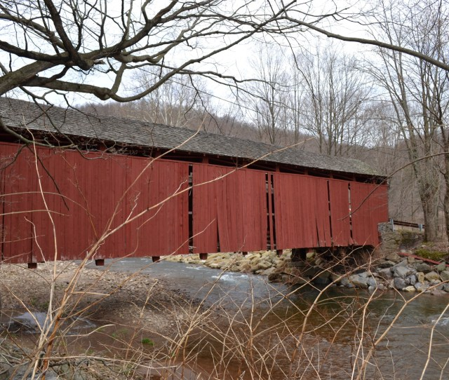 Davidson Township Pa April   Gaping Holes On The Sides Of The Covered Bridge Over Muncy Creek On Champion Hill Road Are Among The Damages