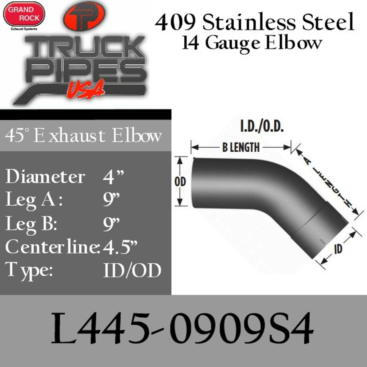 4 exhaust elbow 45 degree 9 x 9 id od 409 stainless steel l445 0909s4