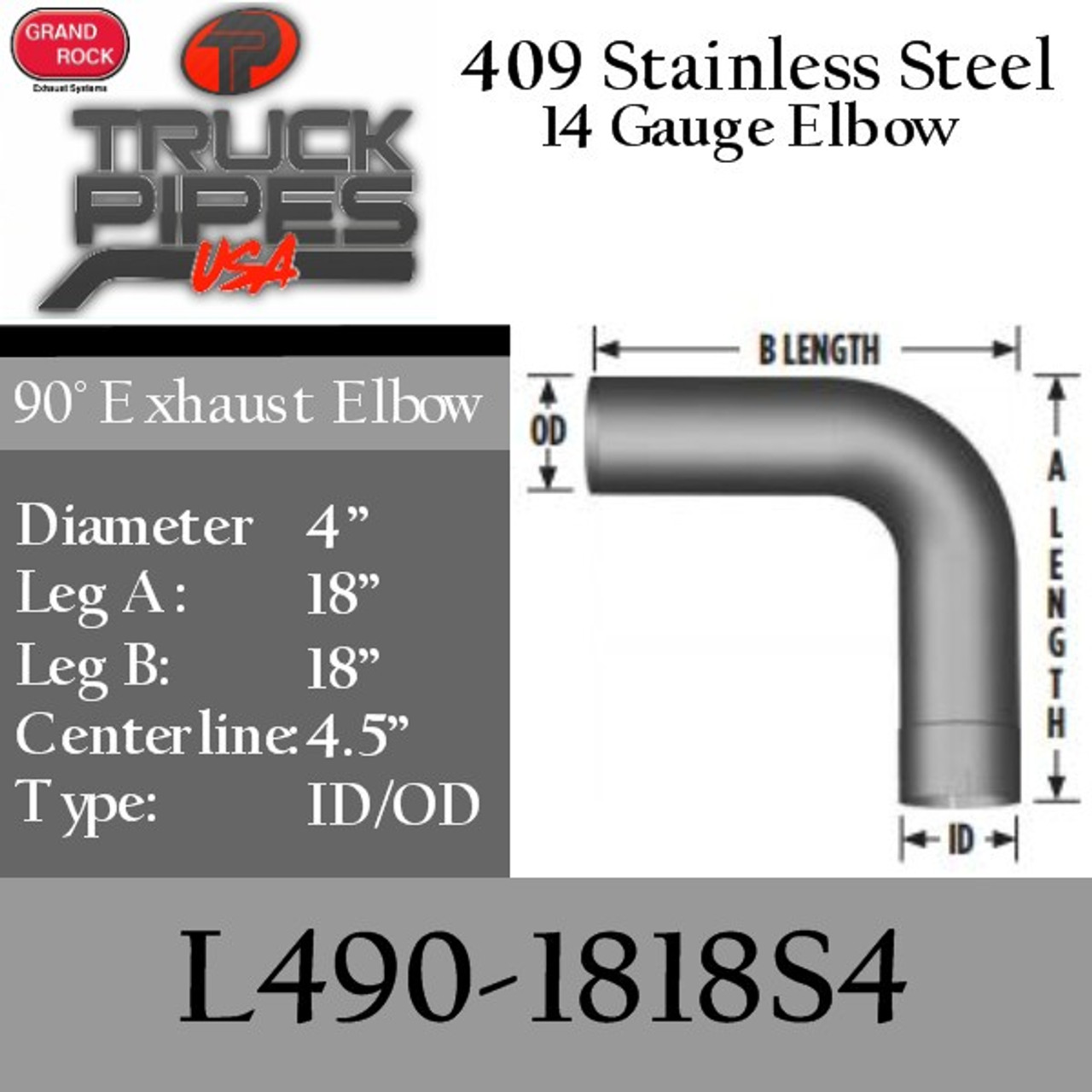4 exhaust elbow 90 degree 18 x 18 id od 409 stainless steel l490 1818s4