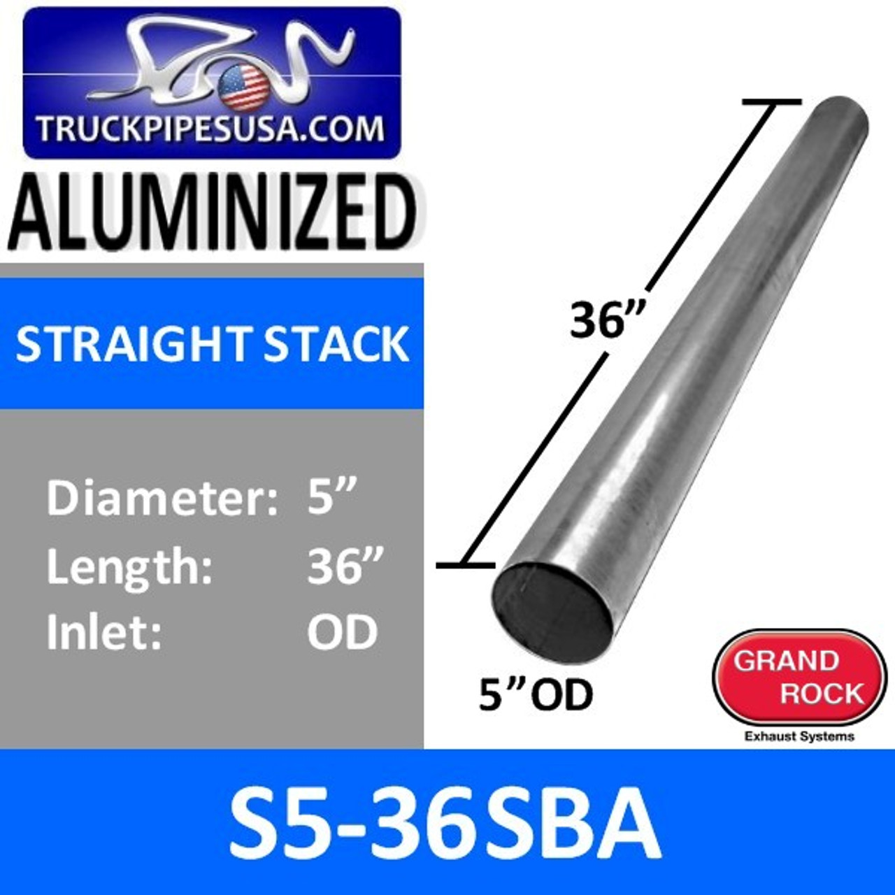 5 x 36 straight cut aluminized exhaust stack od ends s5 36sba