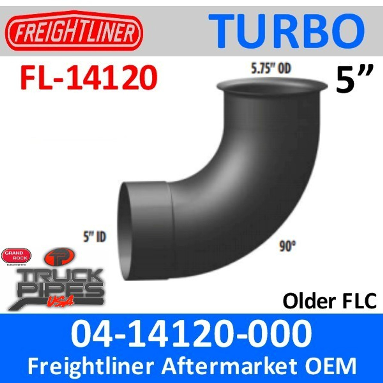 04 14120 000 freightliner 90 deg flared turbo pipe 5 75 od to 5 id