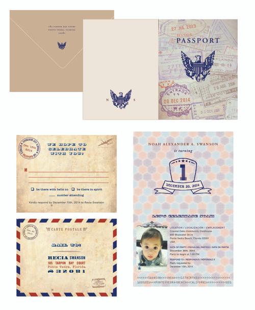 wanderlust passport invitations travel theme party