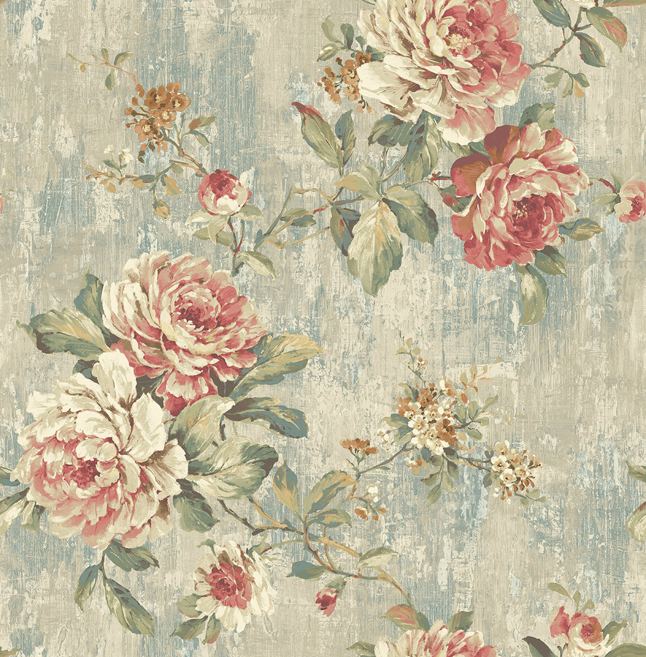 Blooming Rose Wallpaper In Vintage Rose Vf30602 From Wallquest The Savvy Decorator