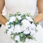 Wedding Bouquets Bridal Bouquet With Pure White Flowers And Seeded Eucalyptus Berries Large Thebridesbouquet Com