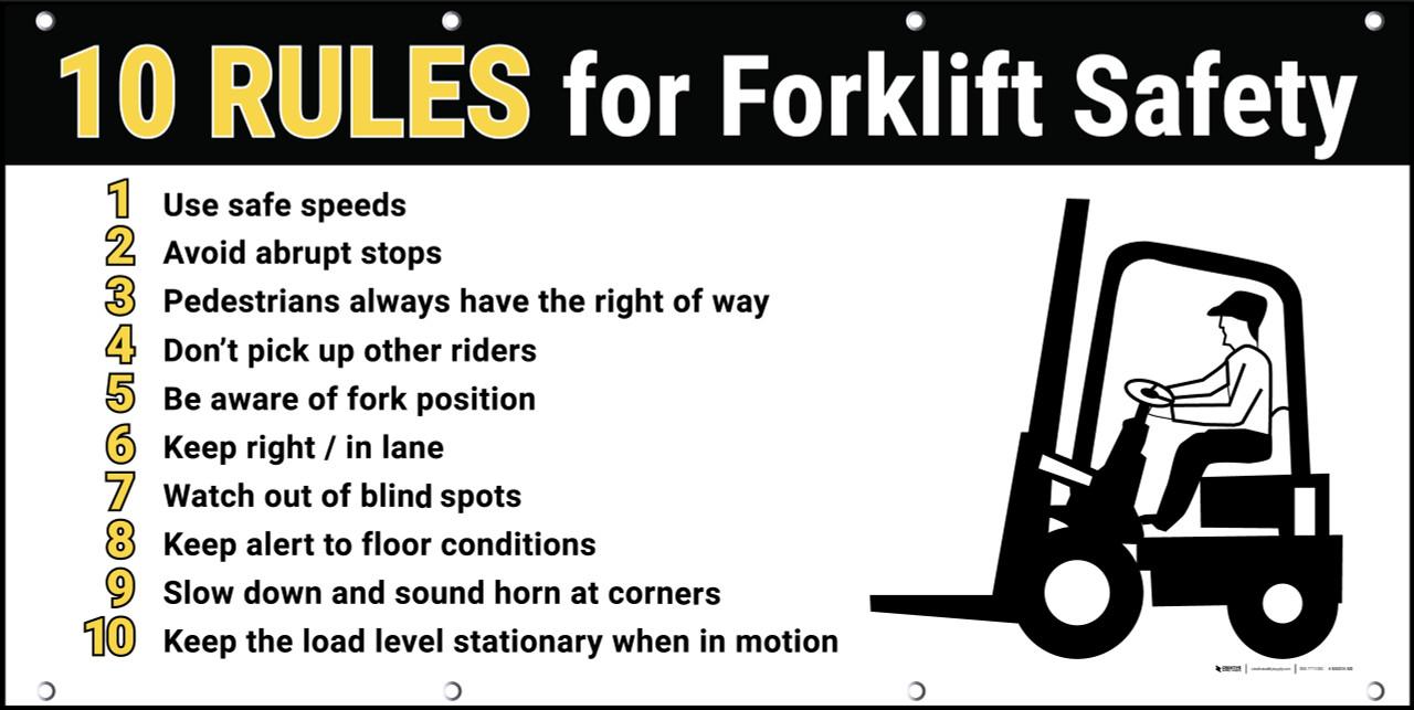 forklift safety 10 rules banner