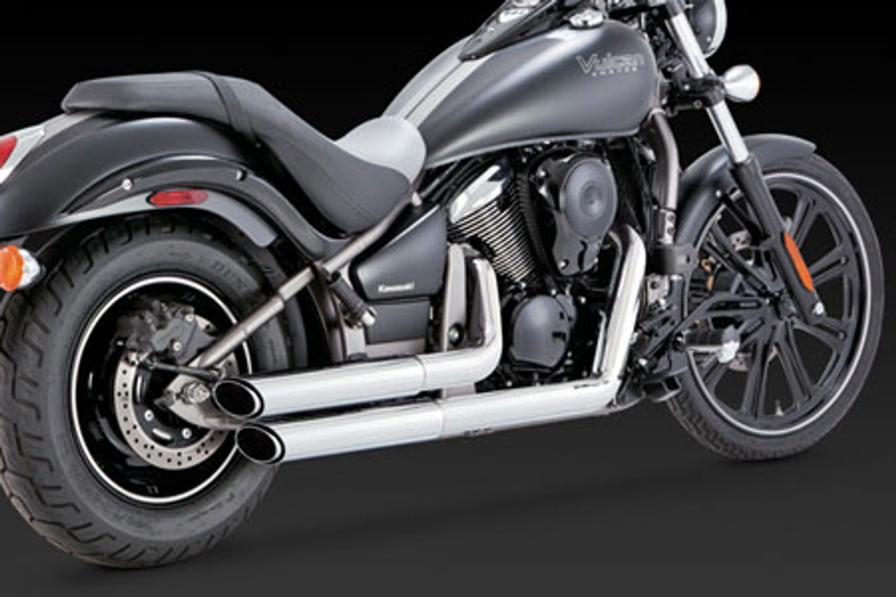 vance hines exhaust twin slash staggereds for vulcan 900 06 up chrome