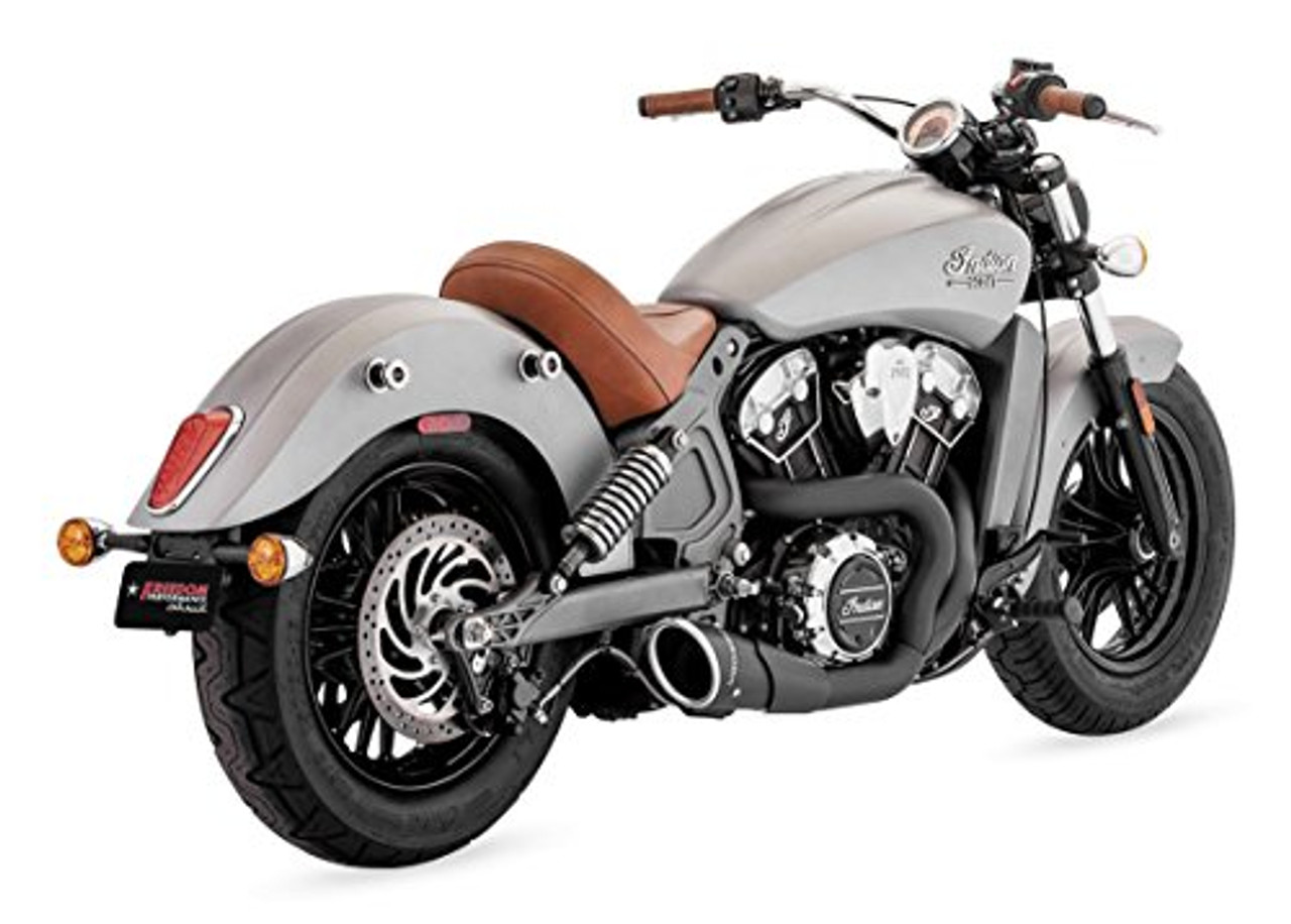 freedom performance exhaust 4 5 inch combat 2 into 1 system for indian scout models 15 up select finish