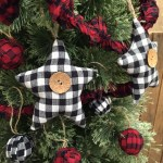 Black White Mini Buffalo Plaid Homespun Fabric Star Christmas Ornaments Set Of 3 Jubilee Fabric