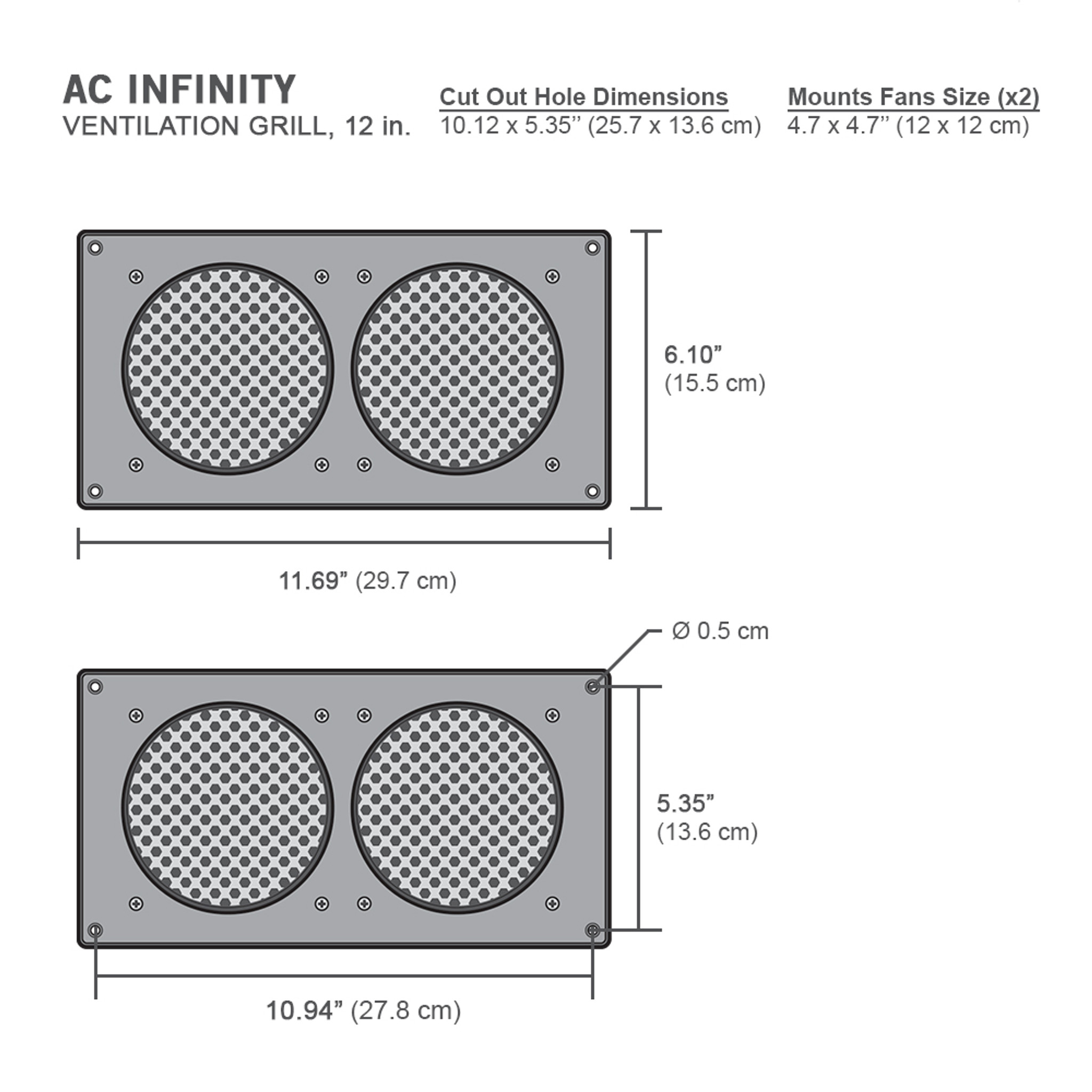 ac infinity cabinet ventilation grille white 12 inch