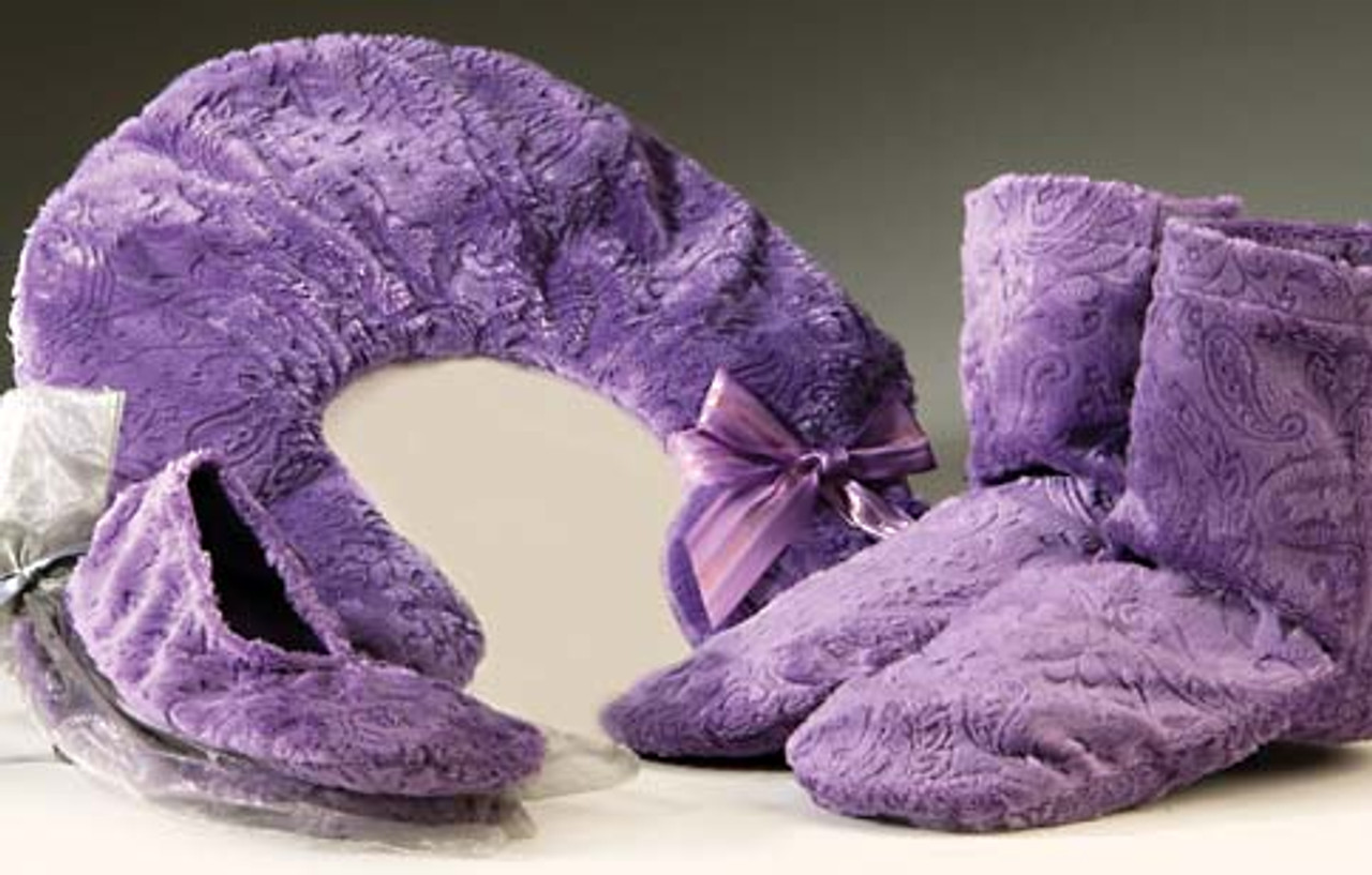 embossed lavender paisley neck pillow