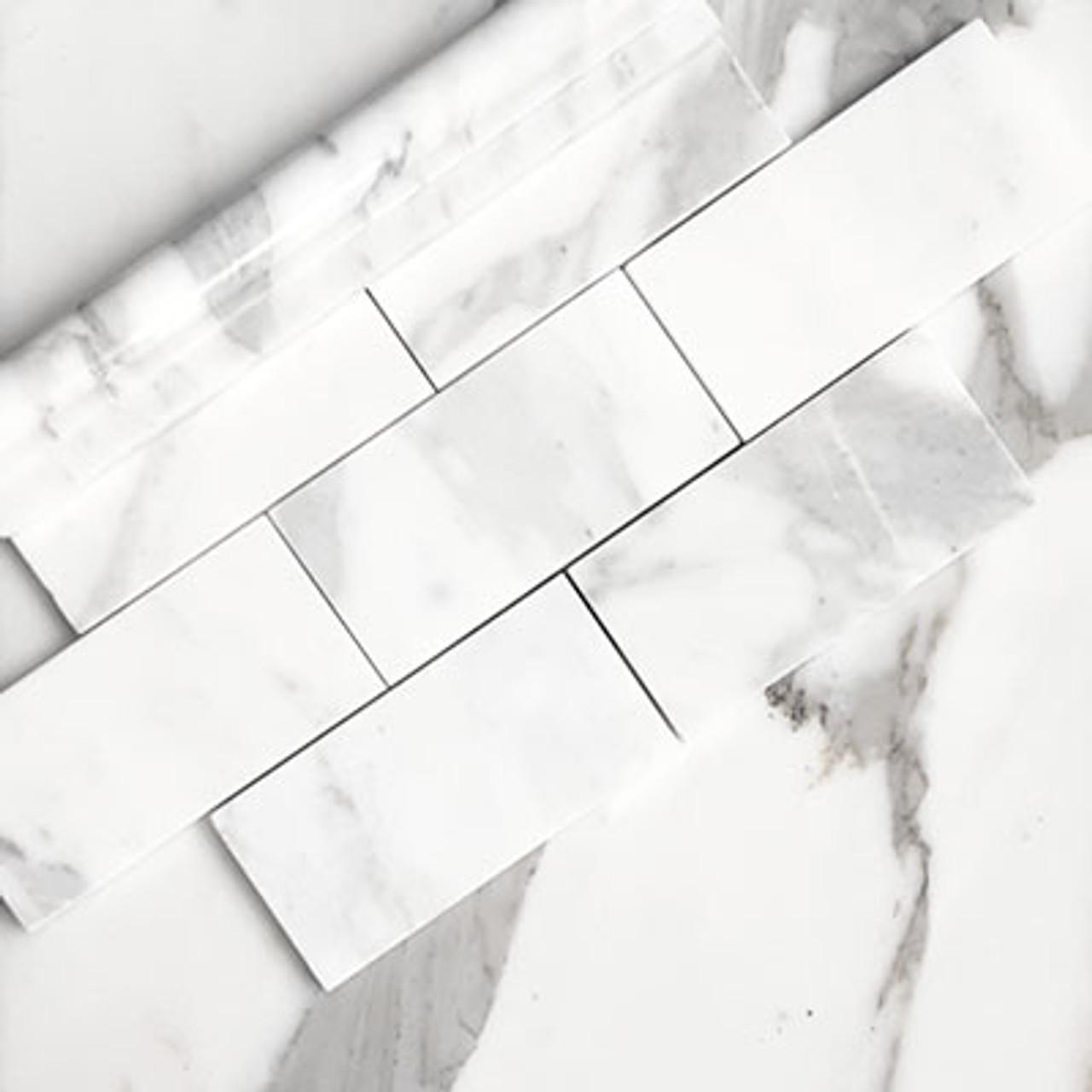 calacatta gold italian marble 3x6 subway tile honed