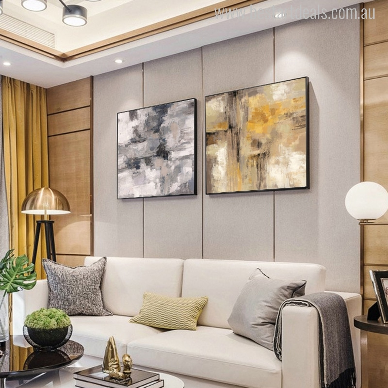 Buy Yellow Gray Oil Painting Canvas Print Wall Art Decor