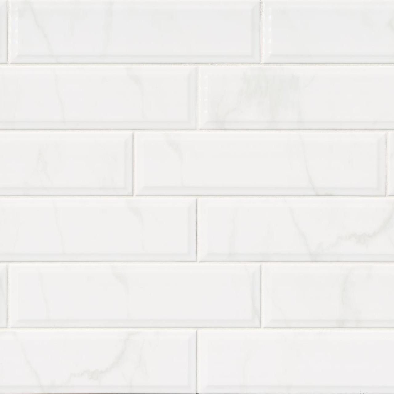 ms international backsplash series classique white carara 4x16 glossy beveled subway tile nwhicarglo4x16bev