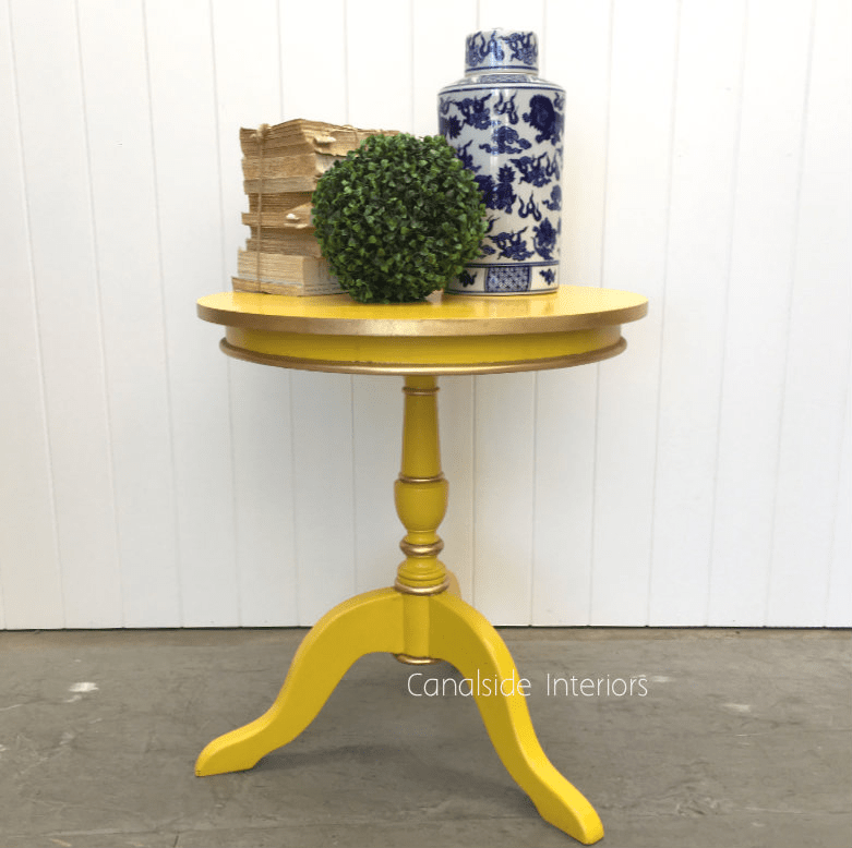 candy crushed side table yellow in stock